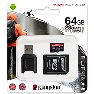 Kingston Canvas React MicroSDXC 64GB + SD Adapter & Card Reader - Memory Card