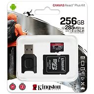 Kingston Canvas React Plus microSDXC 256GB + SD Adapter & Card Reader - Memory Card