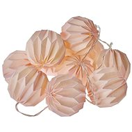 EMOS LED Christmas Garland - 10 × Pink Paper Ball, 2× AA, Warm W., Timer - Christmas Lights