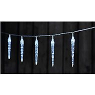 LED Christmas Garland - 10x Icicle, 2x AA, Cool White, Timer - Christmas Lights