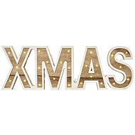 LED XMAS Sign Wooden, 45cm, 2x AA, Indoor, Warm White - Christmas Lights