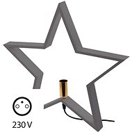 Candlestick for Bulb E14 Wooden Grey, Star, 48cm, Inside