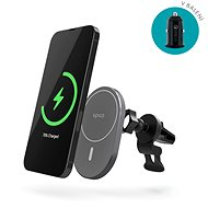 Epico Ellipse Wireless Car Charger (MagSafe compatible) 15W/10W/7.5W + 18W QC - Space Gray - Mobile Phone Holder