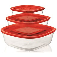 forme casa Set of 3pcs Transparent Plastic Containers 570ml, 1400ml, 2950ml with Red Lid - Food Container Set