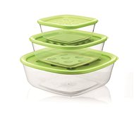 forme casa Set of 3 Transparent Plastic Containers  with Green Lid, 570ml, 1400ml, 2950ml - Food Container Set