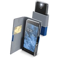 Cellularline Slide & Click XXXL with Hinged Top of PU Leather, Blue - Mobile Phone Case