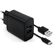 FIXED Smart Rapid Charge 15W with 2xUSB output and USB / USB-C cable 1m black - Charger