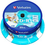 Verbatim CD-R DataLife Protection 52x, Printable 25 pack cake box - Media