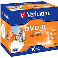 Verbatim DVD-R 16x, Printable 10pcs in Jewel Cases - Media