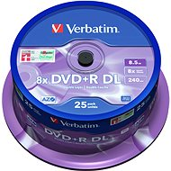 VERBATIM DVD + R 8.5GB 8x DoubleLayer MATT SILVER spindle 25pck - Media