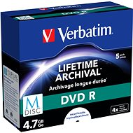 VERBATIM M-DISC DVD R 4X 4.7GB Inkjet Printable 5pcs - Media