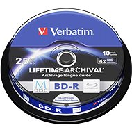 VERBATIM M-DISC BD-R SL 25GB 4x INKJET PRINTABLE spindle 10pck - Media