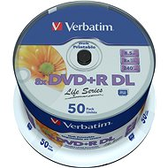 VERBATIM DVD+R DL AZO 8.5GB, 8x, Printable, Spindle of 50 - Media
