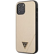 Guess Saffiano V Stitch for Apple iPhone 12/12 Pro, Gold - Mobile Case