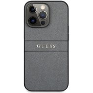 Guess PU Leather Saffiano Back Cover for Apple iPhone 13 Pro, Grey - Mobile Case