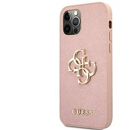 Guess PU Saffiano Big 4G Metal Logo Back Cover for Apple iPhone 12/12 Pro, Pink - Mobile Case