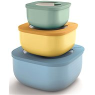 Guzzini 3-Piece Storage Container Set KITCHEN ACTIVE DESIGN STORE & MORE blue, green, yellow - Food Container Set