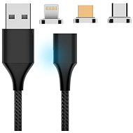 Hishell 3-in-1 Magnetic Charging Cable (USB-C + Lightning + Micro USB) Black