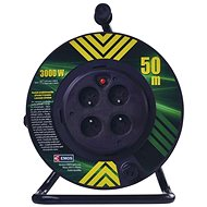 EMOS PVC Cable on Fixed Center Spool  - 4 Sockets, 50m, 1,5mm2