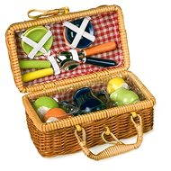 Picnic Basket with Colourful Ceramic Crockery - Game set