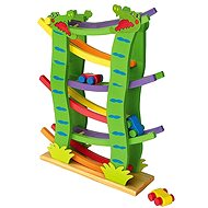 Large wooden racing track with 4 cars - Game Set