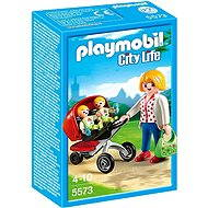 PLAYMOBIL 5573 Mother with Twin Stroller - Building Kit