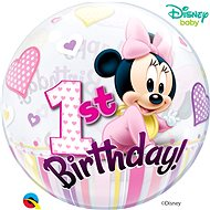 Foil balloon, 56cm, plastic, Minnie Mouse, first birthday - Balloons