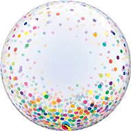 Foil balloon, 61cm, plastic, transparent, with coloured confetti - Balloons