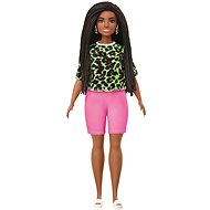 Barbie model - t-shirt with neon leopard pattern and pink shorts - Doll