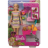 Barbie doll on a walk with her dog