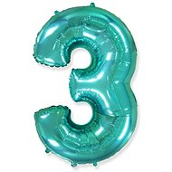 Balloon foil turquoise number - tiffany 115 cm - 3 - Balloons