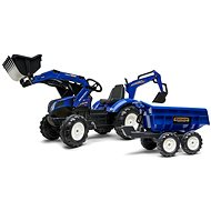 Pedal tractor New Holland T blue with front and rear bucket - Pedal Tractor