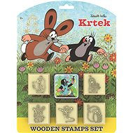 Stamps Mole with cushion 5x5cm wooden 6pcs on the card - Stamps