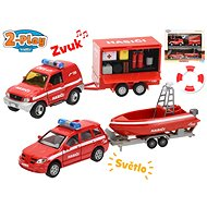 Fire trucks 13cm with trailer and truck, on batteries with light and sound - Toy Vehicle