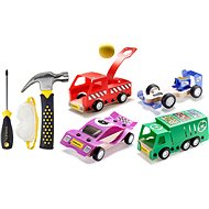 Stanley Jr. U001-K04-T03-SY Set of 4 toy cars, screwdriver and hammer. - Children's Tools