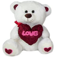 Teddy bear with heart Love - 30 cm White - Teddy Bear
