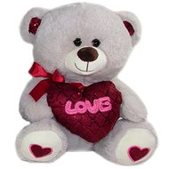 Teddy bear with heart Love - 30 cm Gray - Teddy Bear