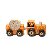 Cubika 15351 Tractor with tow - wooden jigsaw puzzle with magnet 3 parts - Wooden Toy