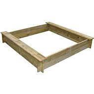 Wooden Square Sandpit with Two Seats - Sandpit