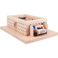 Wooden kit Buko - Garage with a toy car 98 parts - Wooden kit