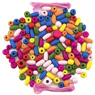 Beads Teddies Wooden Beads Coloured with Rubber Bands approx. 90 pcs in Plastic Box