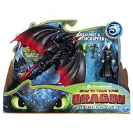 Dragons 3 Dragon and Viking - Black - Figurine