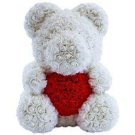 Rose Bear White Teddy Bear Made of Roses with a Red Heart 38cm