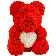 Rose Bear Red Teddy Bear Made of Roses with a White Heart 38cm - Rose Bear