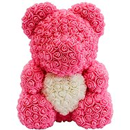 Rose Bear Pink Teddy Bear Made of Roses with a White Heart 38cm - Rose Bear