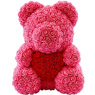 Rose Bear Pink Teddy Bear Made of Roses with a Red Heart 38cm - Rose Bear
