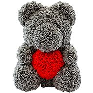 Rose Bear Gray Teddy Bear Made of Roses with a Red Heart 38cm - Rose Bear
