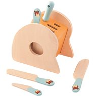 Trefl Wooden stand with knives and steel - Wooden Toy