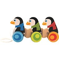 He hit the Penguins on wheels - Wooden Toy