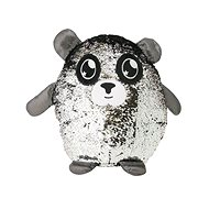 Glitter Palz Sequined Character. Large, Silver and Black - Teddy Bear